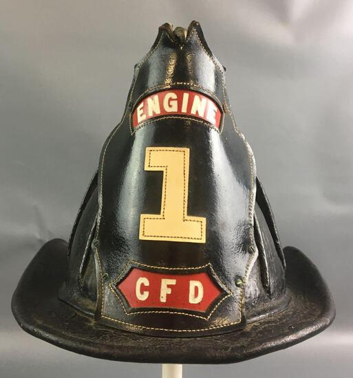 Antique Leather Firefighters Helmet