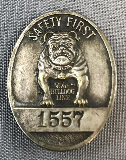 Vintage Safety First Avery Bulldog Line Badge/pin