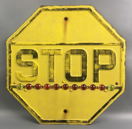 Antique Yellow Metal Stop Sign