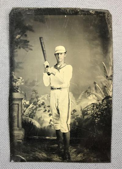 Antique Tintype Photo of Baseball Player
