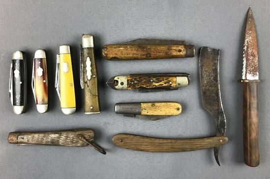 Group of 10 Vintage pocket knives and more