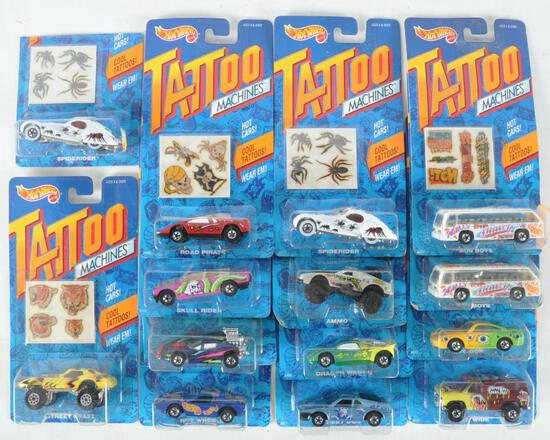 Group of 14 Hot Wheels Tattoo Machines Die-Cast Vehicles in Original Packaging