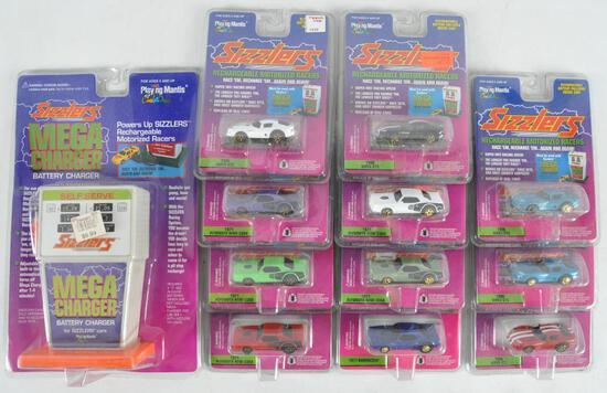Group of 12 Playing Mantis Sizzlers Die-Cast Vehicles with Mega Charger