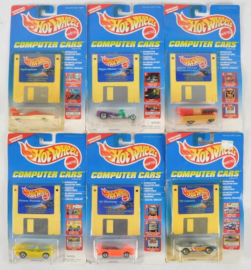 Group of 6 Hot Wheels Computer Cars Die-Cast Vehicles in Original Packaging