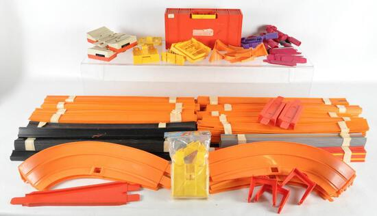 Large Group of Hot Wheels Track Parts and More