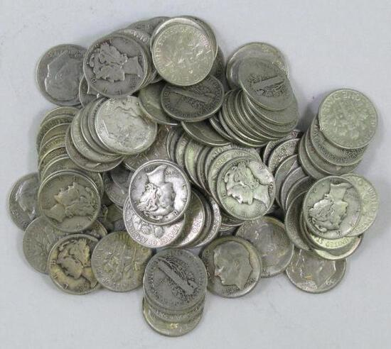 Group of (110) Mercury & Roosevelt Silver Dimes.