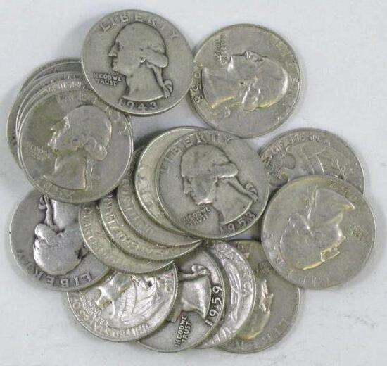 Group of (20) Washington Silver Quarters.