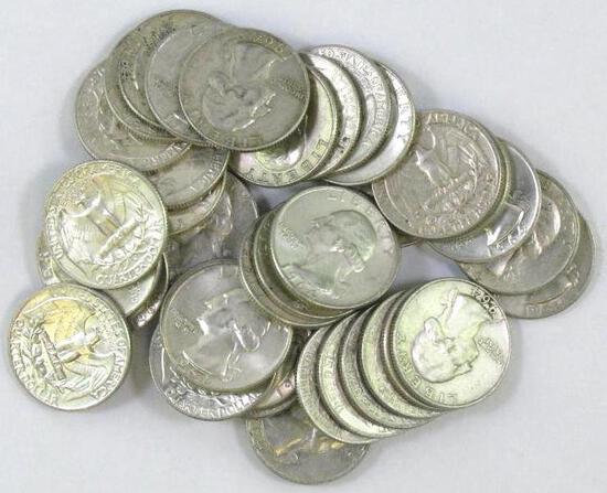 Group of (40) 1964 D Washington Silver Quarters.