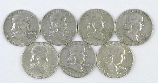 Group of (7) Franklin Silver Half Dollars.