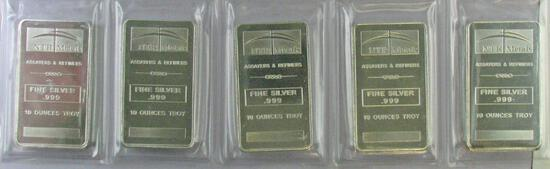 Group of (5) NTR Metals 10 Troy Ounce .999 Silver Bar / Ingots.