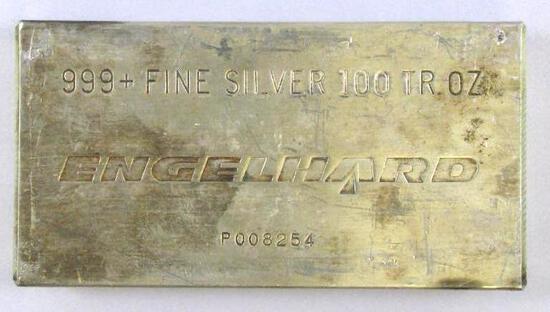 Engelhard 100oz. Troy .999 Fine Silver Bar / Ingot.