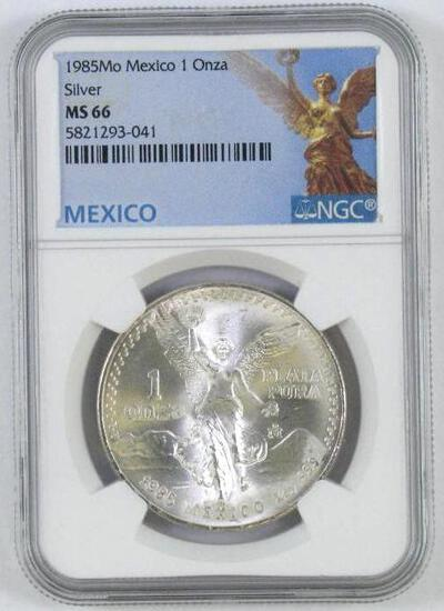 1985 Mexico One Onza .999 Fine Silver (NGC) MS66.