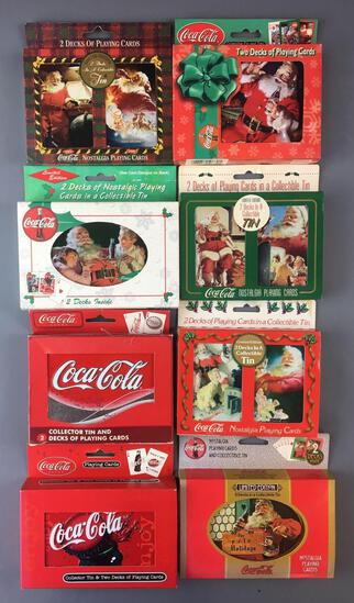Group of 8 Coca-Cola 2 Deck Playing Cards