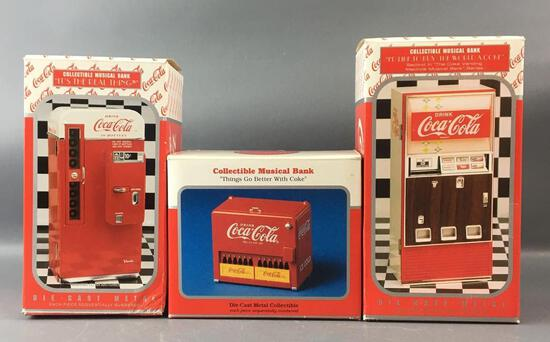 Group of 3 Coca-Cola Die-cast Collectible Musical Banks