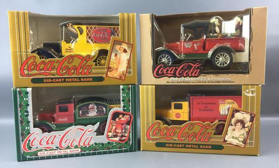 Group of 4 Coca-Cola Die-cast Metal Truck Banks
