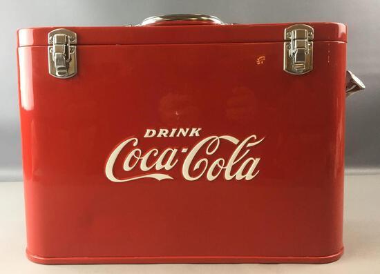 Vintage Coca-Cola Cavalier Airline Advertising Metal Cooler
