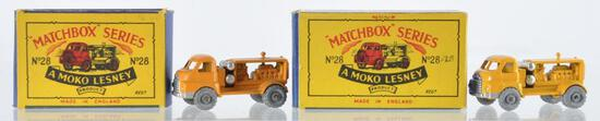Group of 2 Matchbox No. 28 Compressor Lorry Die-Cast Vehicles with Original Boxes