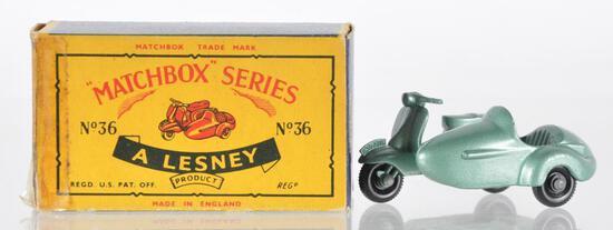 Matchbox No. 36 Lambretta & Side Car Die-Cast Motorcycle with Original Box