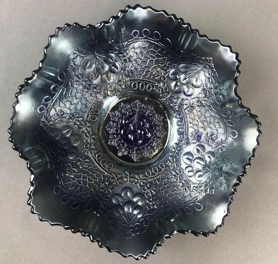 Antique Fenton Blue Carnival Glass Ruffled Edge Bowl-Cherry Chain Variant