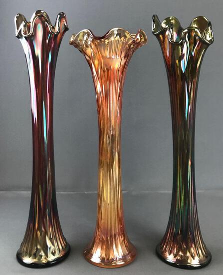 Group of 3 Antique Fenton Carnival Glass Ruffled Edge vases
