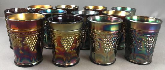 Group of 12 Antique Amethyst Northwood Carnival Glass tumblers-Grape and Cable thumbprint