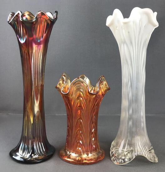 Group of 3 Antique Carnival Glass vases, unidentified