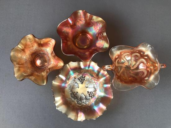 Group of 4 Antique Marigold Carnival Glass Ruffled Edge bowls