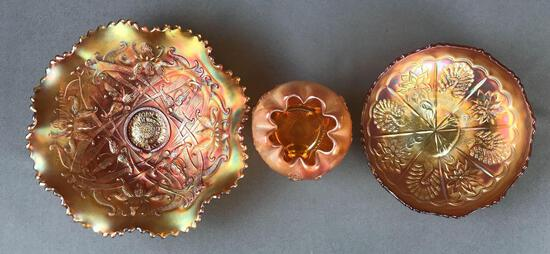Group of 3 Antique Marigold Carnival Glass bowls