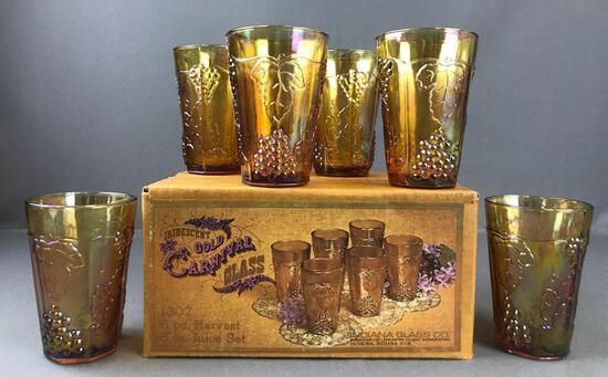 Group of 12 Irridescent Gold Indiana Glass Co. Carnival Glass Juice glasses-Harvest