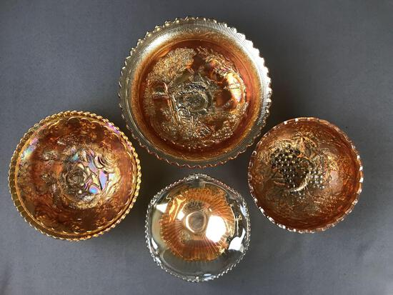 Group of 4 Antique Marigold Carnival Glass bowls