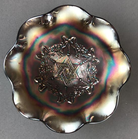 Antique Amethyst Northwood Carnival GlassBowl?Star of David and Bows