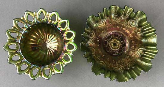 Group of 2 Antique Carnival Glass bowls