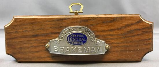 New York Central System Brakeman Hat badge plaque