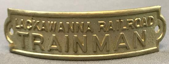Vintage Lackawanna railroad trainman hat badge