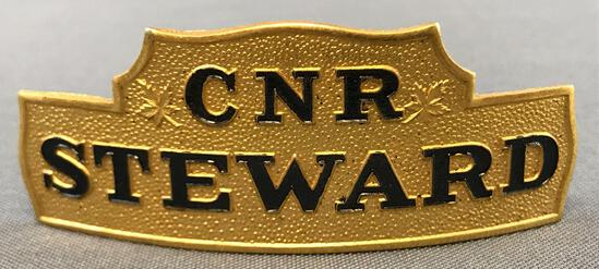 Vintage CNR steward hat badge