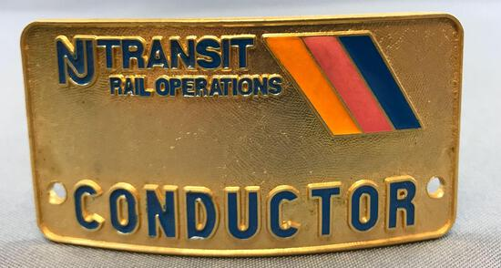 Vintage NJ transit rail operations conductor hat badge