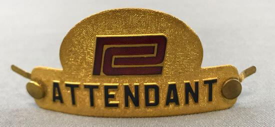 Vintage Penn Central Railway attendant hat badge