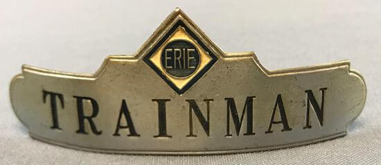 Vintage Erie railroad trainman hat badge