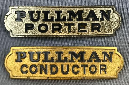 Vintage Pullman Porter and Conductor hat badges
