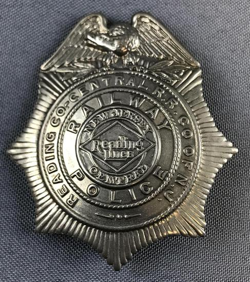 Vintage NJ central railway police badge