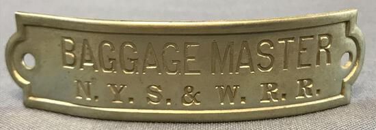 Vintage NYS & W Railroad baggage master hat badge