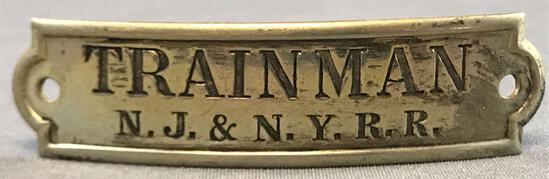 Vintage NJ and NY Railroad trainman hat badge