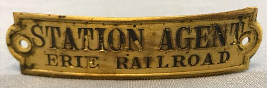 Vintage Erie railroad station agent hat badge