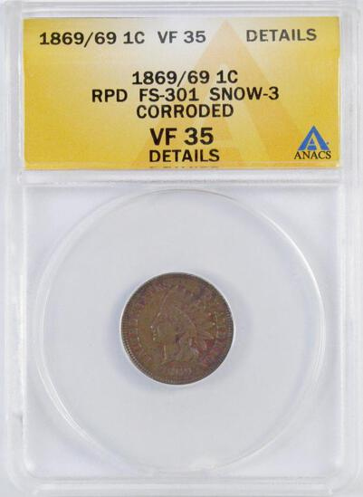 1869/69 Indian Head Cent (ANACS) VF35 Details.