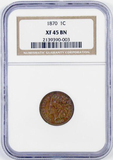 1870 Indian Head Cent (NGC) XF45BN.