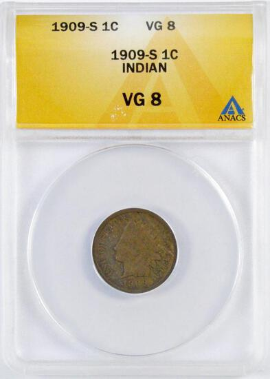 1909 S Indian Head Cent (ANACS) VG8.