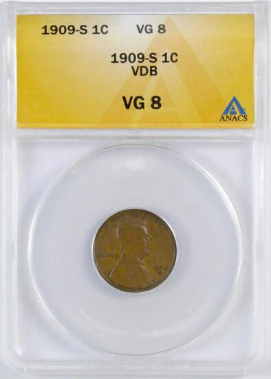 1909 S VDB Lincoln Wheat Cent (ANACS) VG8.