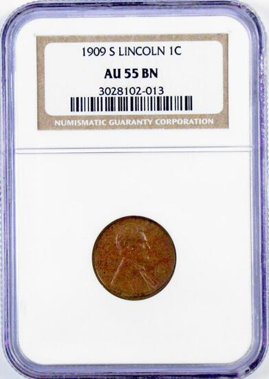 1909 S Lincoln Wheat Cent (NGC) AU55BN.