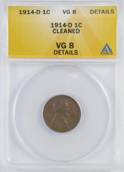 1914 D Lincoln Wheat Cent (ANACS) VG8 Details.