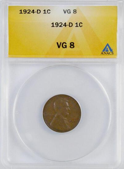 1924 D Lincoln Wheat Cent (ANACS) VG8.